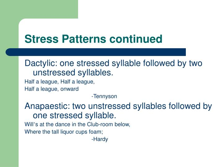 Stress Patterns continued