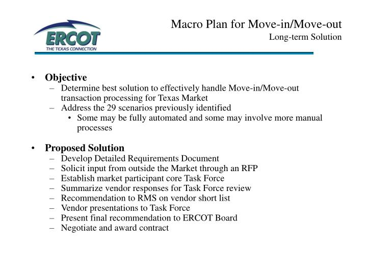 Macro Plan for Move-in/Move-out