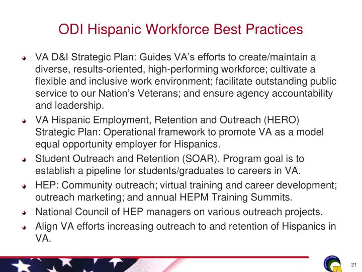 ODI Hispanic Workforce Best Practices