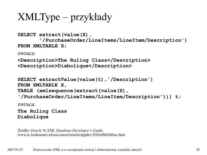 XMLType – przykłady