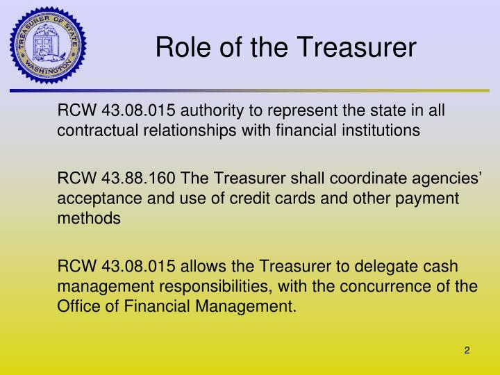 Role of the treasurer