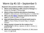 warm up 1 10 september 5