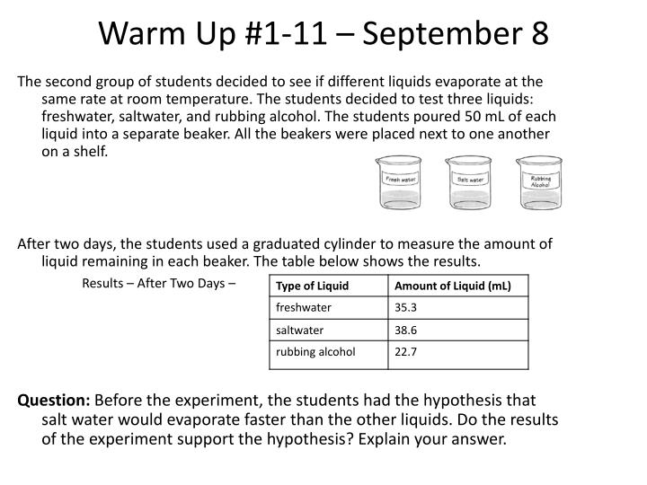 Warm Up #1-11 – September 8