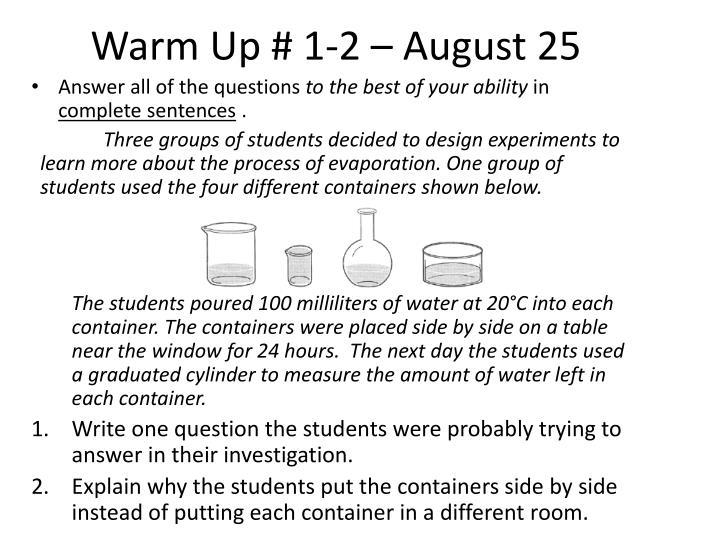 Warm Up # 1-2 – August 25