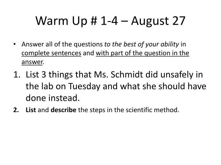 Warm Up # 1-4 – August 27