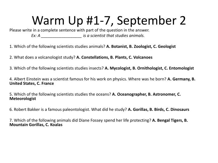 Warm Up #1-7, September 2