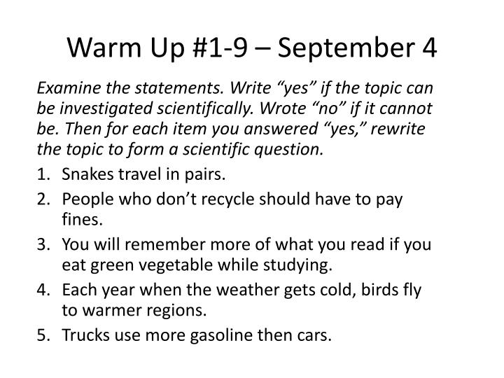 Warm Up #1-9 – September 4