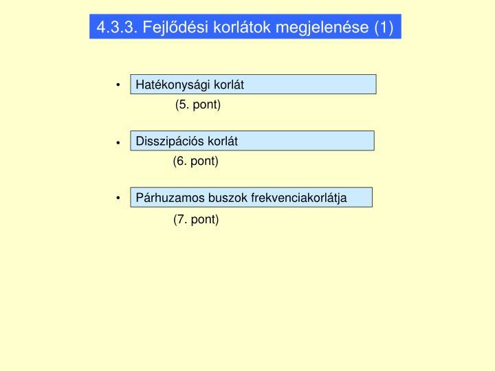 4.3.3. Fejlődési korlátok megjelenése