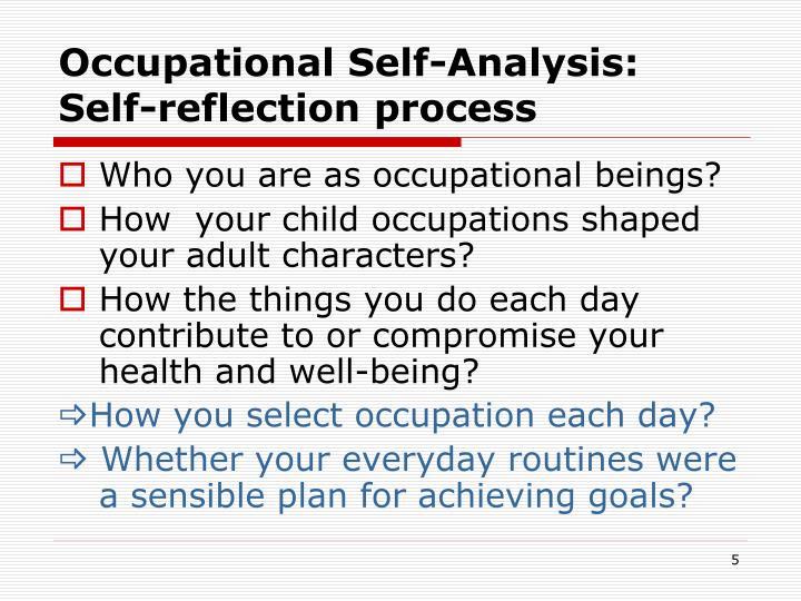 Occupational Self-Analysis: