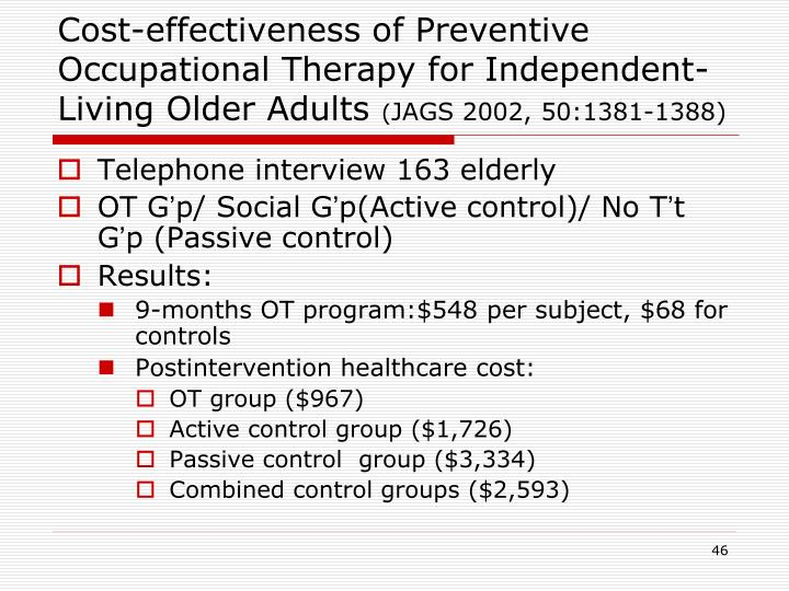 Cost-effectiveness of Preventive Occupational Therapy for Independent-Living Older Adults