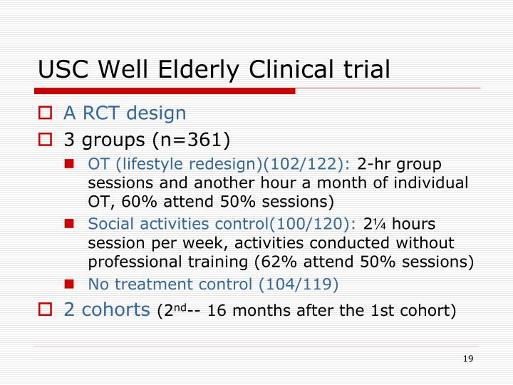 USC Well Elderly Clinical trial