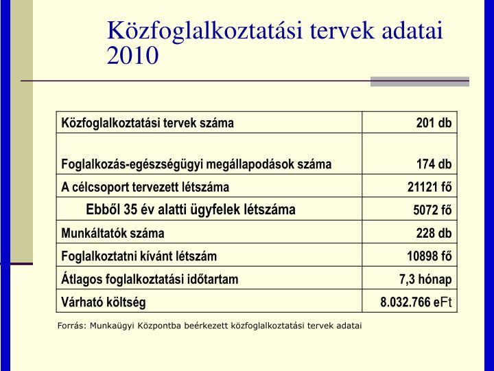 Közfoglalkoztatási tervek adatai 2010