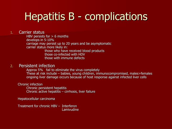 Hepatitis B - complications