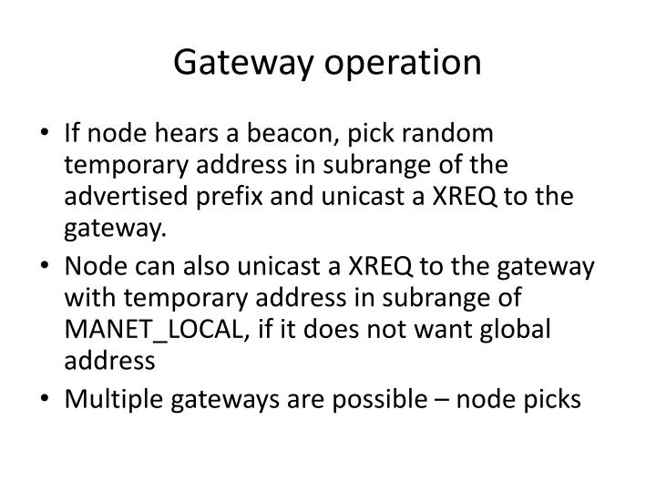 Gateway operation
