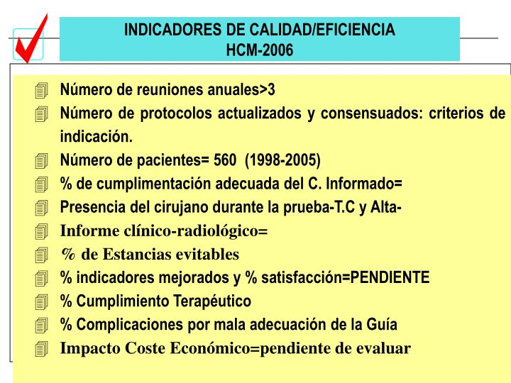 INDICADORES DE CALIDAD/EFICIENCIA