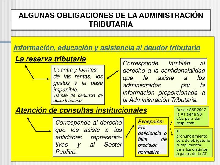 ALGUNAS OBLIGACIONES DE LA ADMINISTRACIÓN TRIBUTARIA
