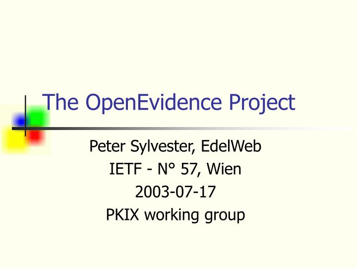 The openevidence project