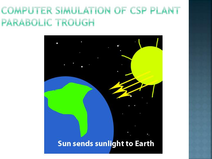 Computer simulation of CSP plant