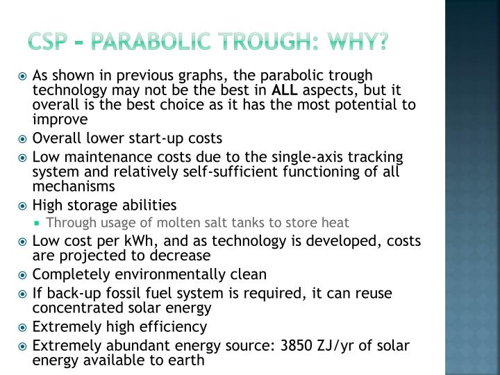 CSP – parabolic trough: WHY?