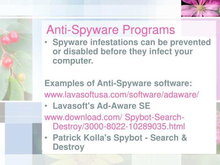 Anti-Spyware Programs