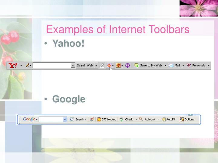 Examples of Internet Toolbars