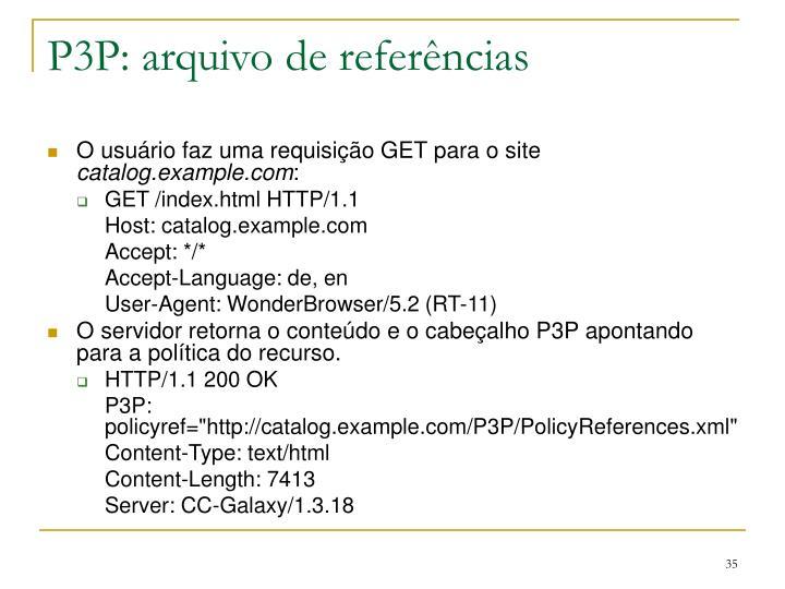 P3P: arquivo de referências