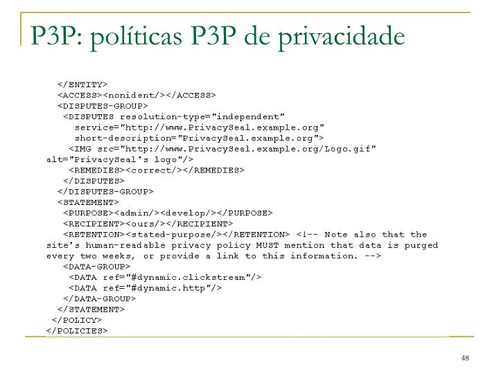 P3P: políticas P3P de privacidade