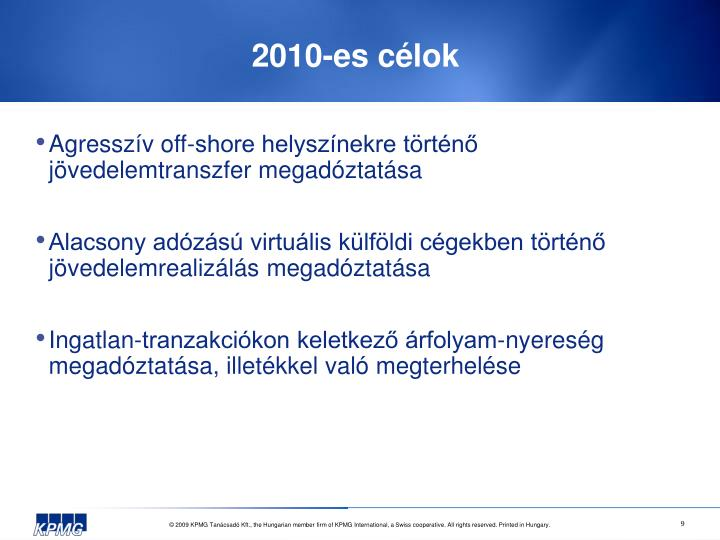 2010-es célok