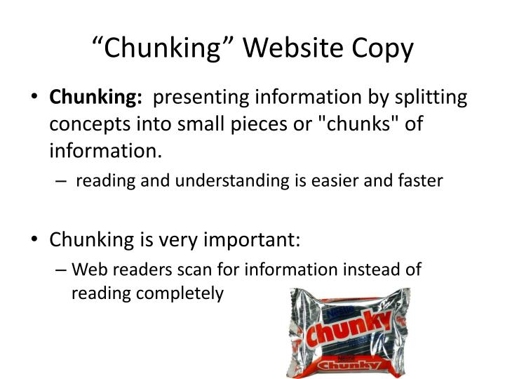 Chunking website copy