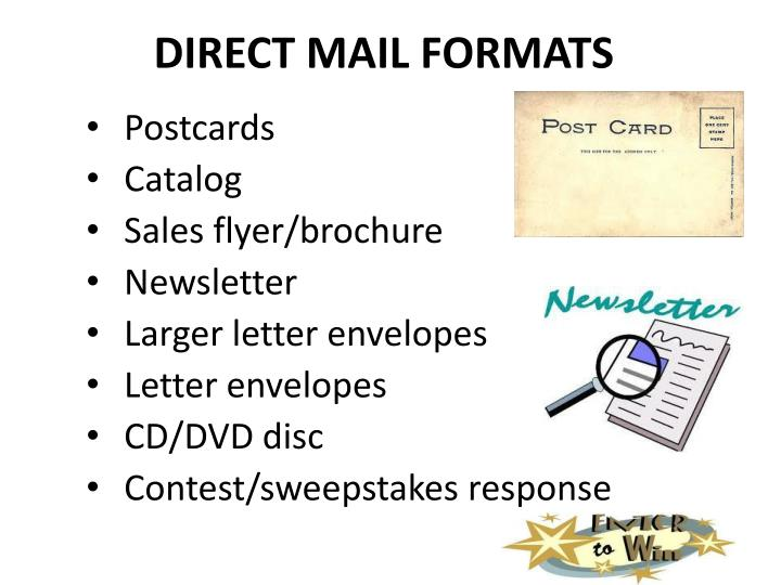 DIRECT MAIL FORMATS