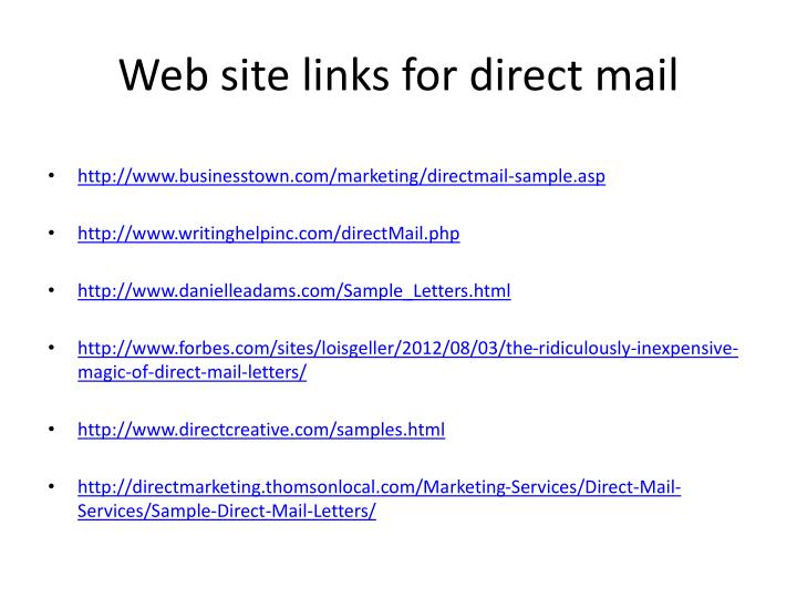 Web site links for direct mail