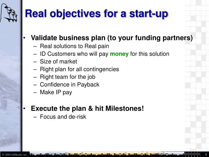Real objectives for a start-up