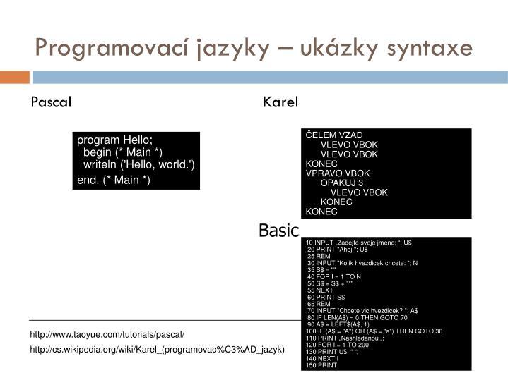 Programovací jazyky – ukázky syntaxe