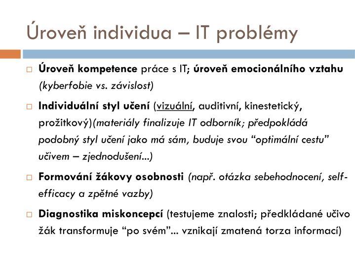 Úroveň individua – IT problémy