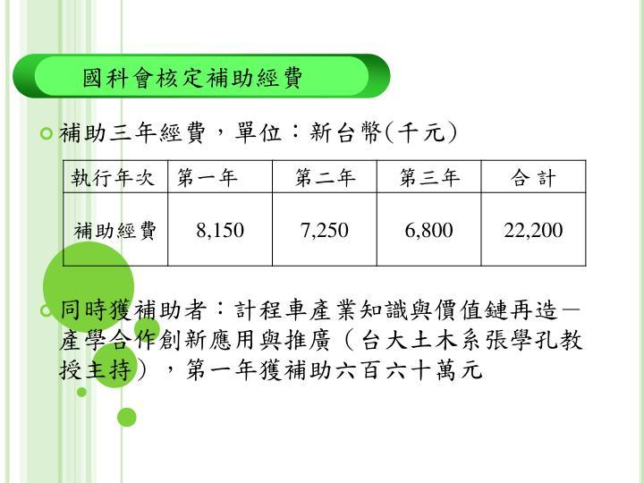 補助三年經費,單位:新台幣