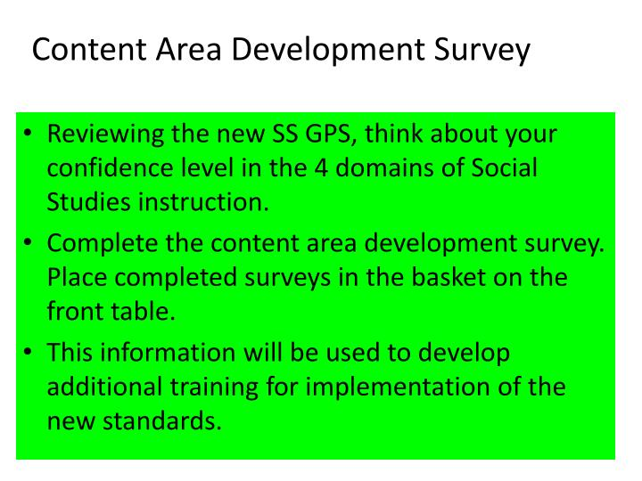 Content Area Development Survey