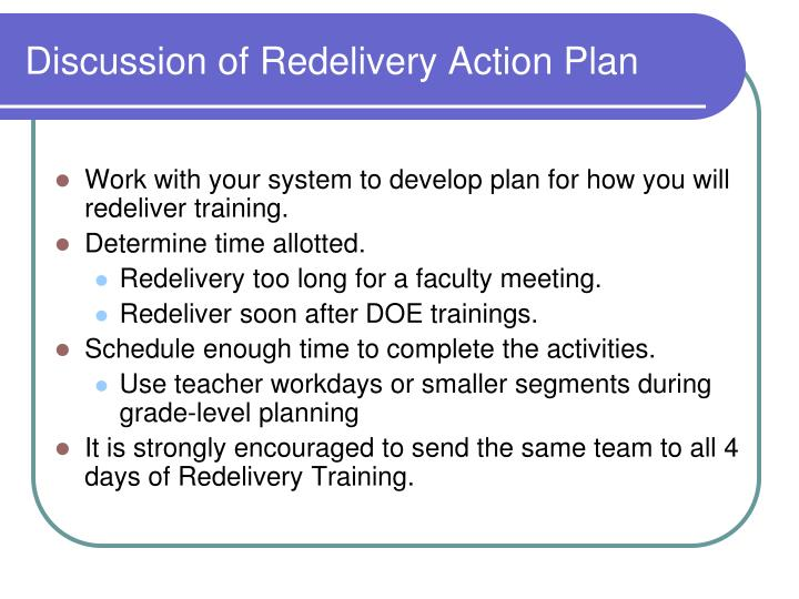 Discussion of Redelivery Action Plan