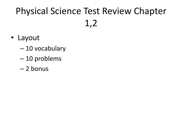 Physical science test review chapter 1 2
