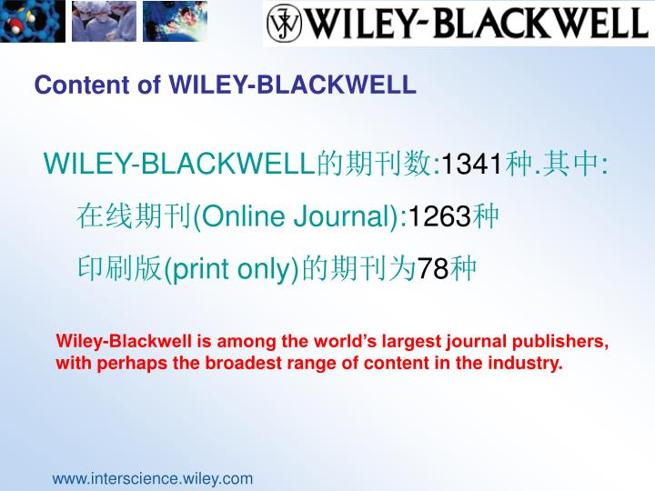 Content of WILEY-BLACKWELL