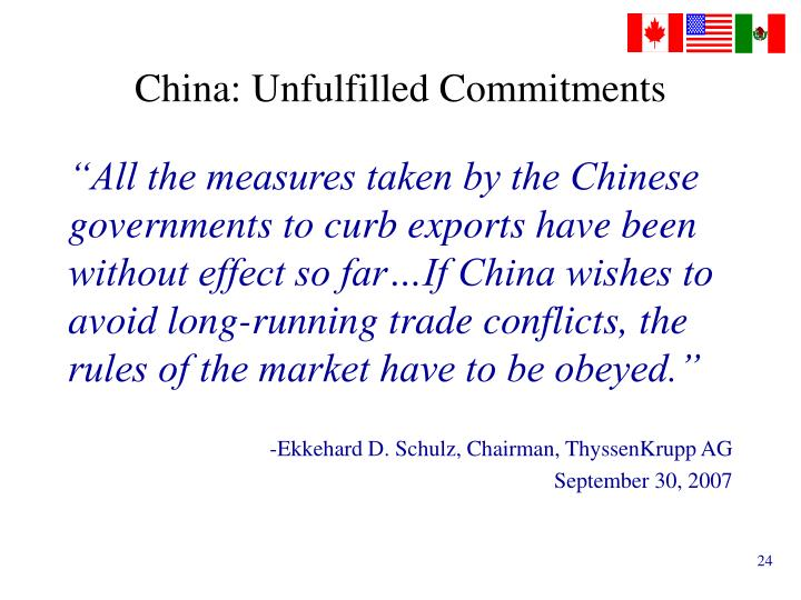 China: Unfulfilled Commitments