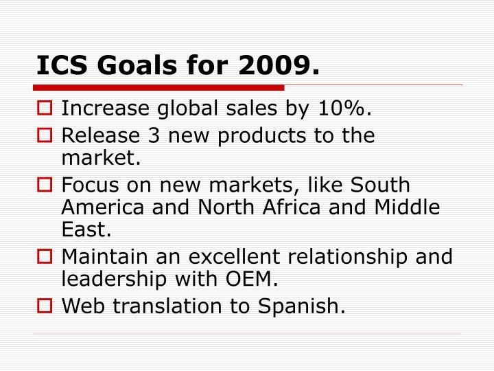 ICS Goals for 2009.