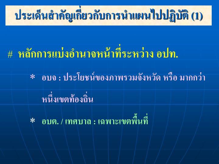 ประเด็นสำคัญเกี่ยวกับการนำแผนไปปฏิบัติ (1)