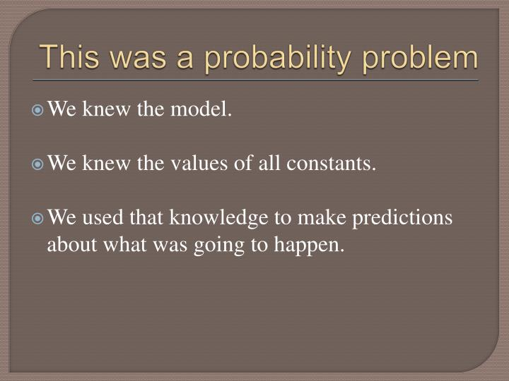 This was a probability problem