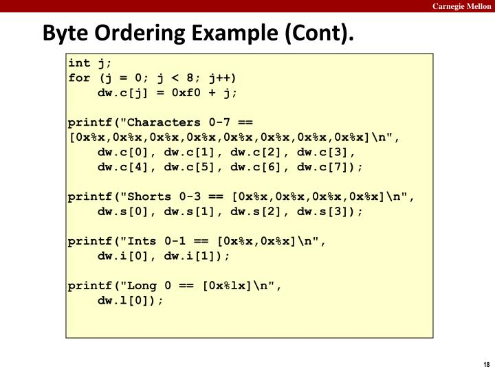 Byte Ordering Example (Cont).
