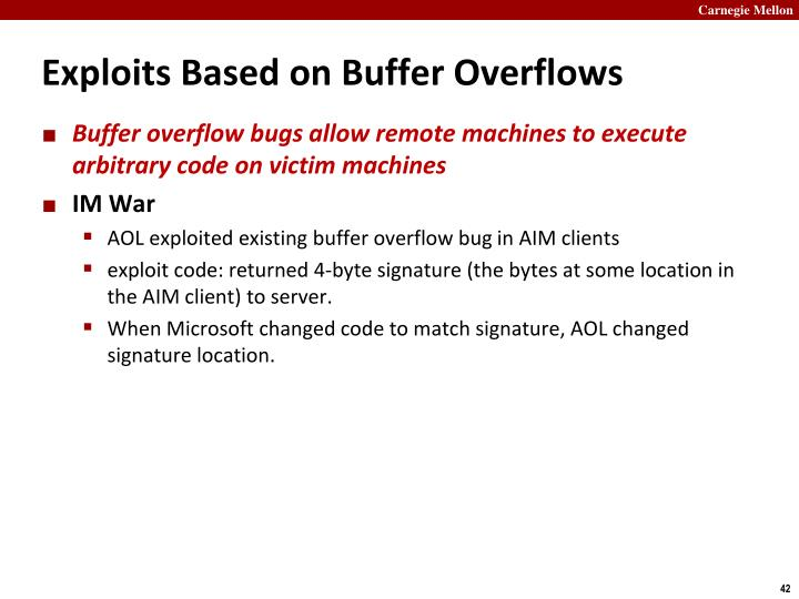Exploits Based on Buffer Overflows