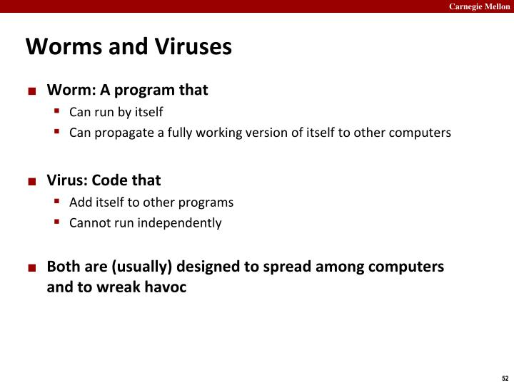 Worms and Viruses