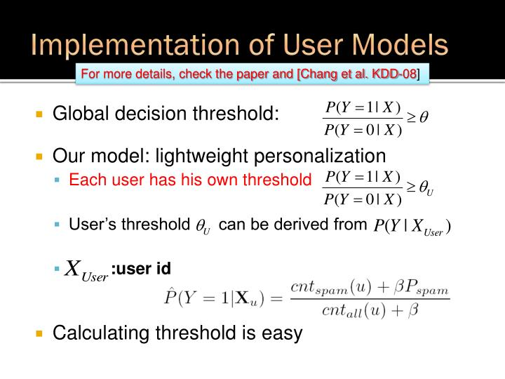 Implementation of User Models