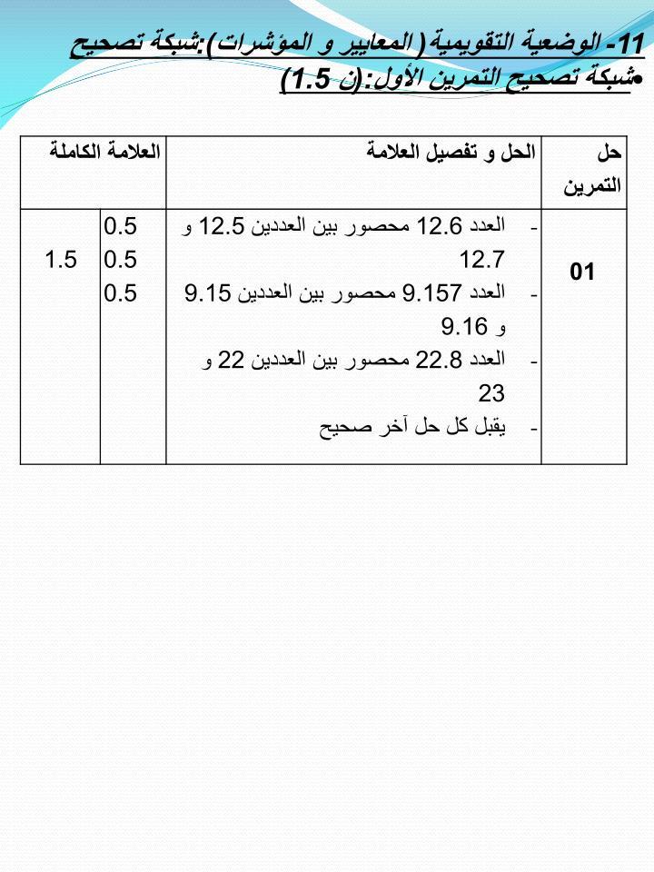 11- الوضعية التقويمية( المعايير