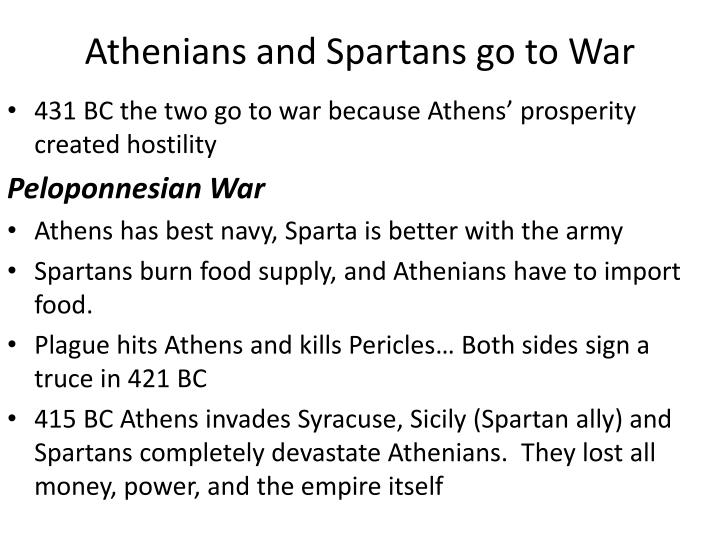 Athenians and Spartans go to War