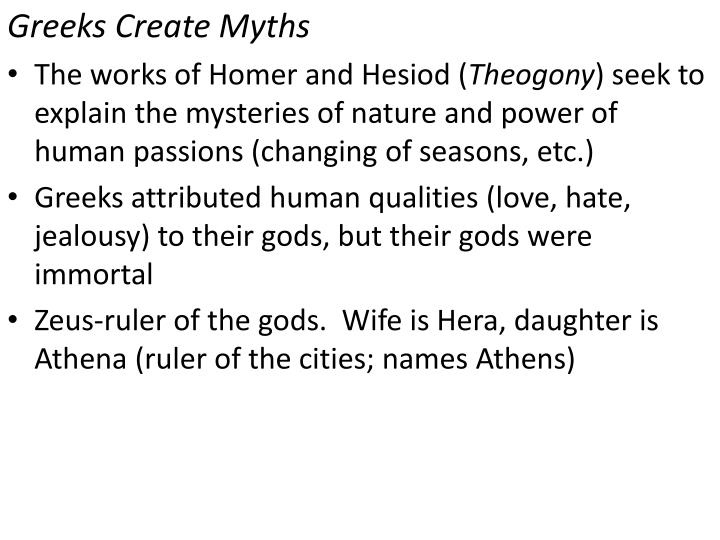 Greeks Create Myths
